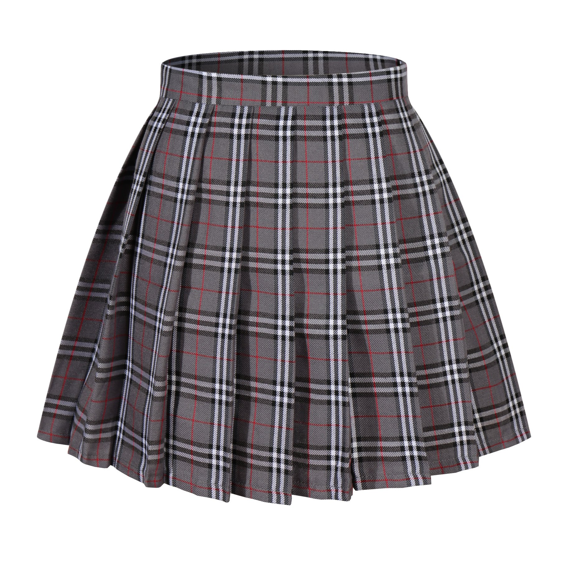 Girl's A-line Kilt Plaid Pleated Skirts (XS, Grey Mixed White)