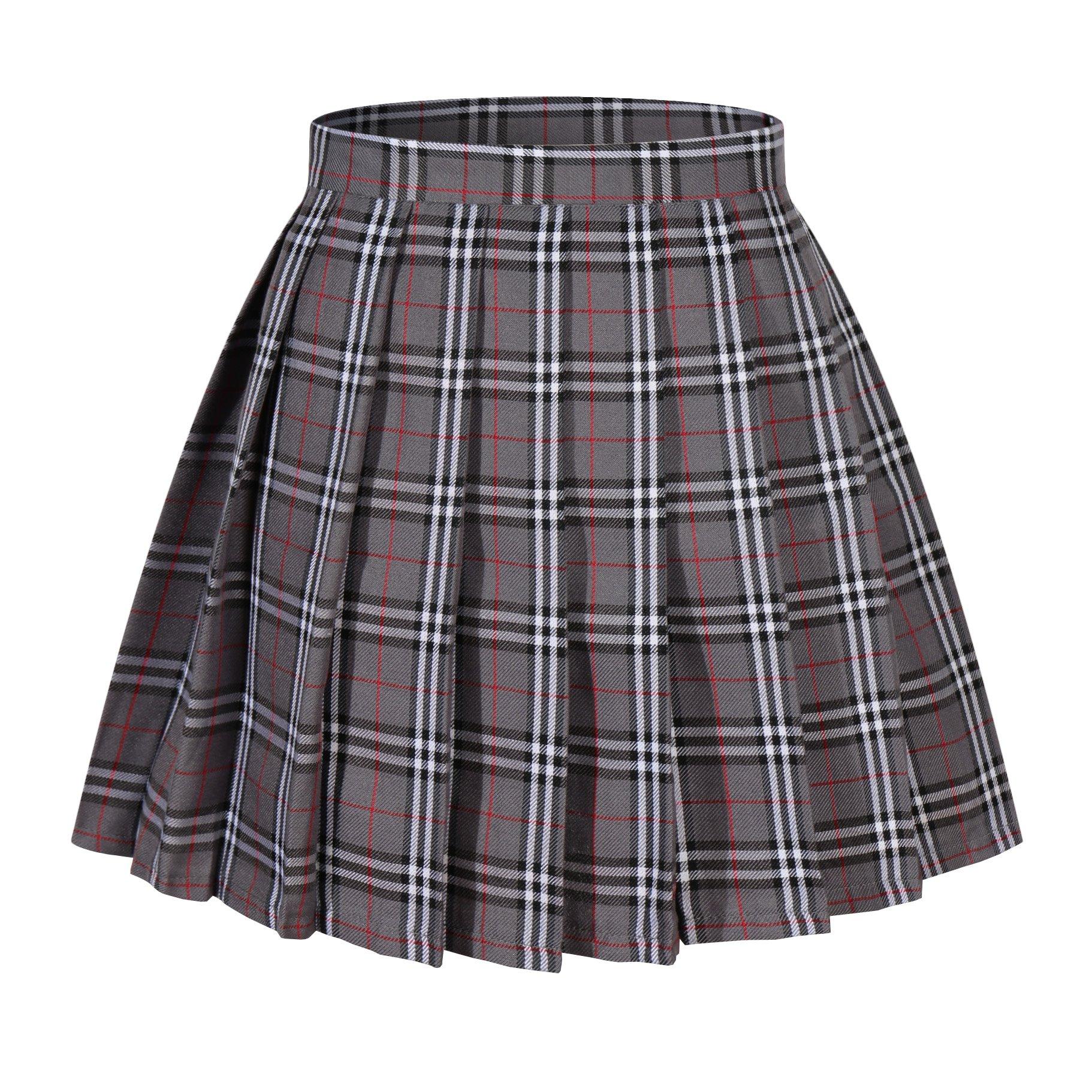 Beautifulfashionlife Girl's A-Line Kilt Plaid Pleated Skirts (XS, Grey Mixed White)