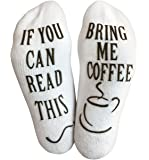"Luxury Cotton ""Bring Me Coffee"" Funny Socks - Perfect Valentine's Day Gift for Him or Her, Hilarious Novelty or Gag Gift Idea for Wife or Husband - Best White Elephant Present For Coffee Lover"