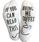 "Luxury Cotton ""Bring Me Coffee"" Socks - Perfect Gag Gift or Novelty Present Idea for Men and Women - Comfortable Coffee Lover Apparel"