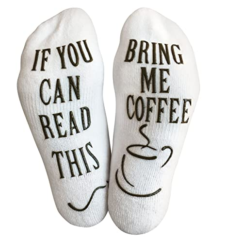 Haute Soiree Luxury Cotton Bring Me Coffee Socks - Perfect Gag Gift or Novelty Present Idea for Men and Women - Comfortable Coffee Lover Apparel