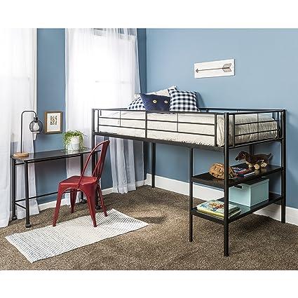 amazon com twin modern metal loft bed with desk and shelves black rh amazon com metal loft bed with desk underneath metal loft bed with desk