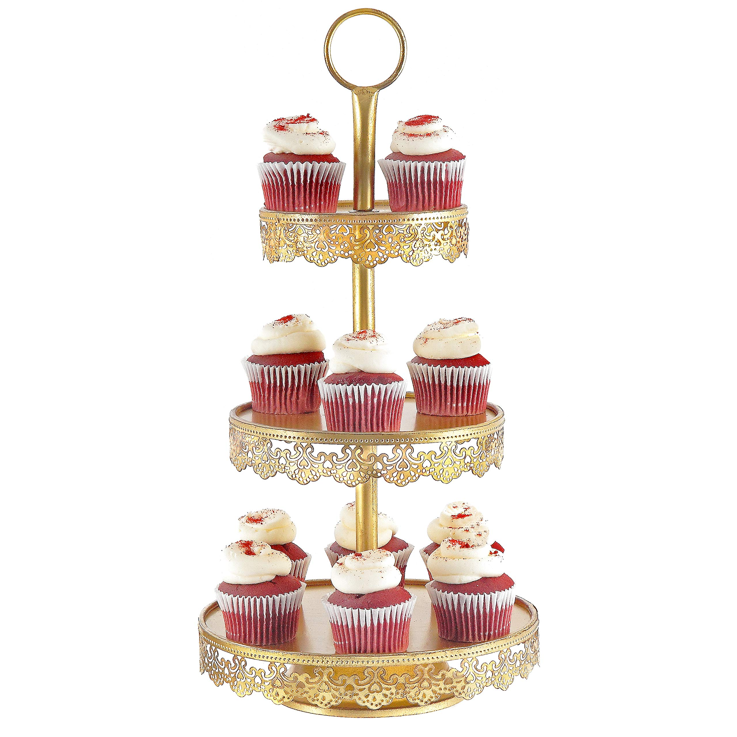 Gold Cupcake Stand-Gold Cake Stand-Dessert Stand-Pastry Stand-3 Tier Serving Tray for Wedding-Strong and Steady Hand-made intricate design