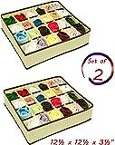 24 Divider Collapsible Closet Storage Box Underwear Drawer Organizer, Beige, Size: 12 ½'' x 12 ½''x 3 ½'' (Set of 2)