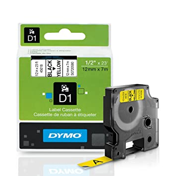 DYMO D1 Label Cassette, 12mm x 7m - Black on Yellow