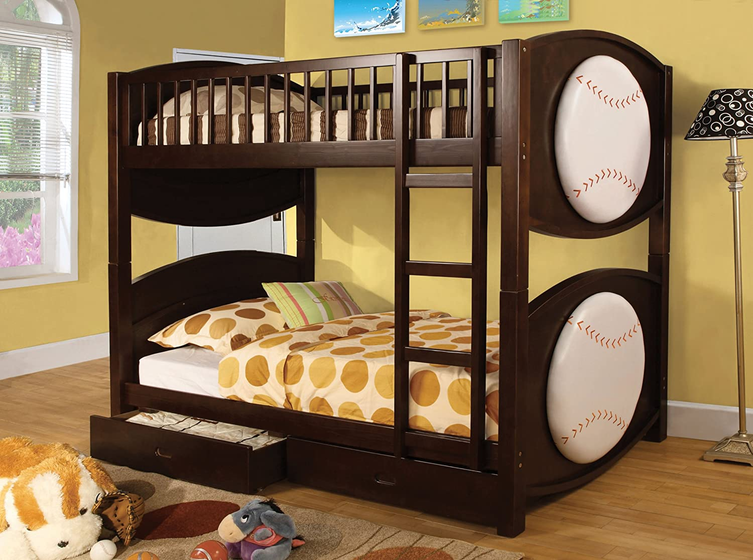 Amazon Furniture Of America Baseball Bunk Bed With 2 Drawers Twin Kitchen Dining