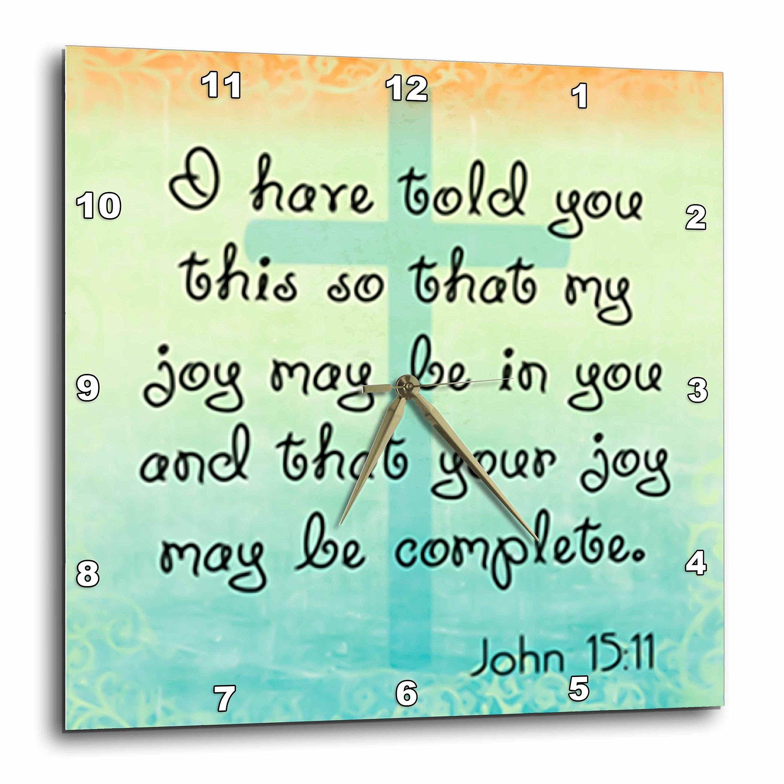 3dRose Bible Verse John 15-11 Gradient Cross Bible Christian Inspirational Saying - Wall Clock, 15 by 15-Inch (dpp_150070_3)