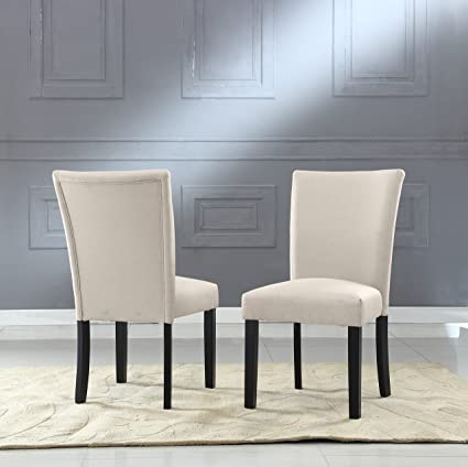 US Pride Furniture Sally Collection Set of 2 Classic Fabric Upholstered  Dining Room Armless Accent Chair, Beige