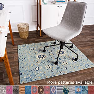 "Anji Mountain Chair Mat Rug'd Collection, 1/4"" Thick - For Low Pile Carpets & Hard Surfaces, Tabriz AMB9004, Light Blue Tribal Floral"