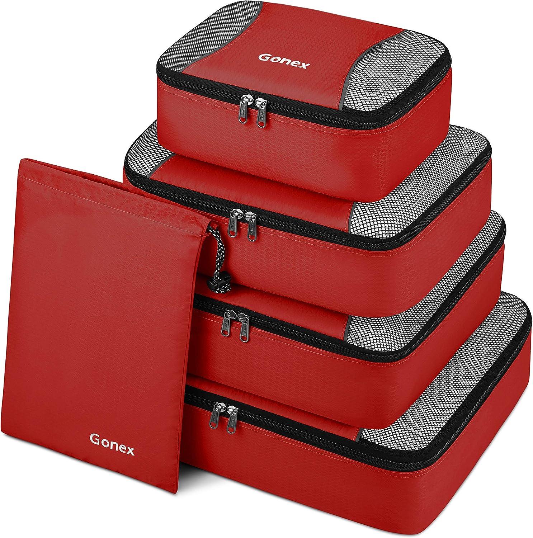 Organizador para Maleta Equipaje, Gonex Bolsas de Viajes Cubos de Embalaje Almacenaje Impermeable para Ropa Zapatos Cosméticos Accesorios Portátil Neceser de Viaje Tocador, Kit de 5 PCS (Rojo)