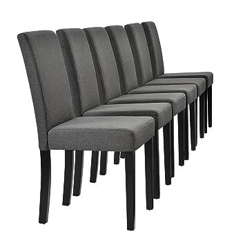 [en.casa]®] Set de 6 sillas de Comedor Elegantes tapizadas de Tela Gris - 90 x 42cm sillas de diseño