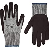AmazonCommercial 13G HPPE Cut Resistant Liner & Nitrile Gloves (Salt & Pepper/Black), Size XL, 12 pairs
