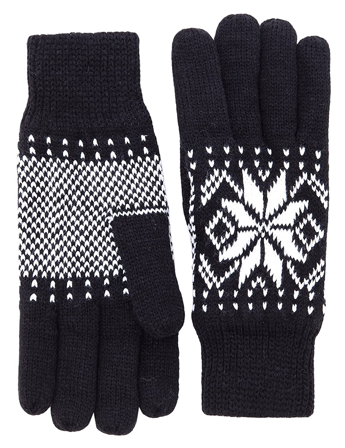 Wantdo Women's Warm 3M Thinsulate Fleece Lining Knit Gloves Thick Snowflake Pattern Winter Mittens One Size WDHW545