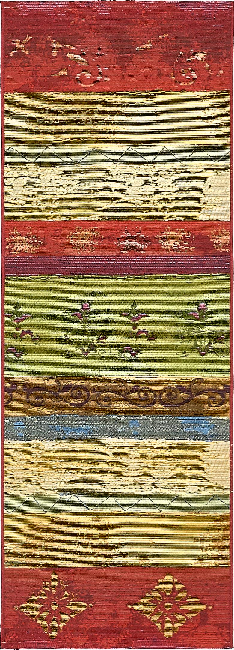Unique Loom Outdoor Collection Colorful Striped Botanical Transitional Indoor and Outdoor Multi Runner Rug (2' x 6')