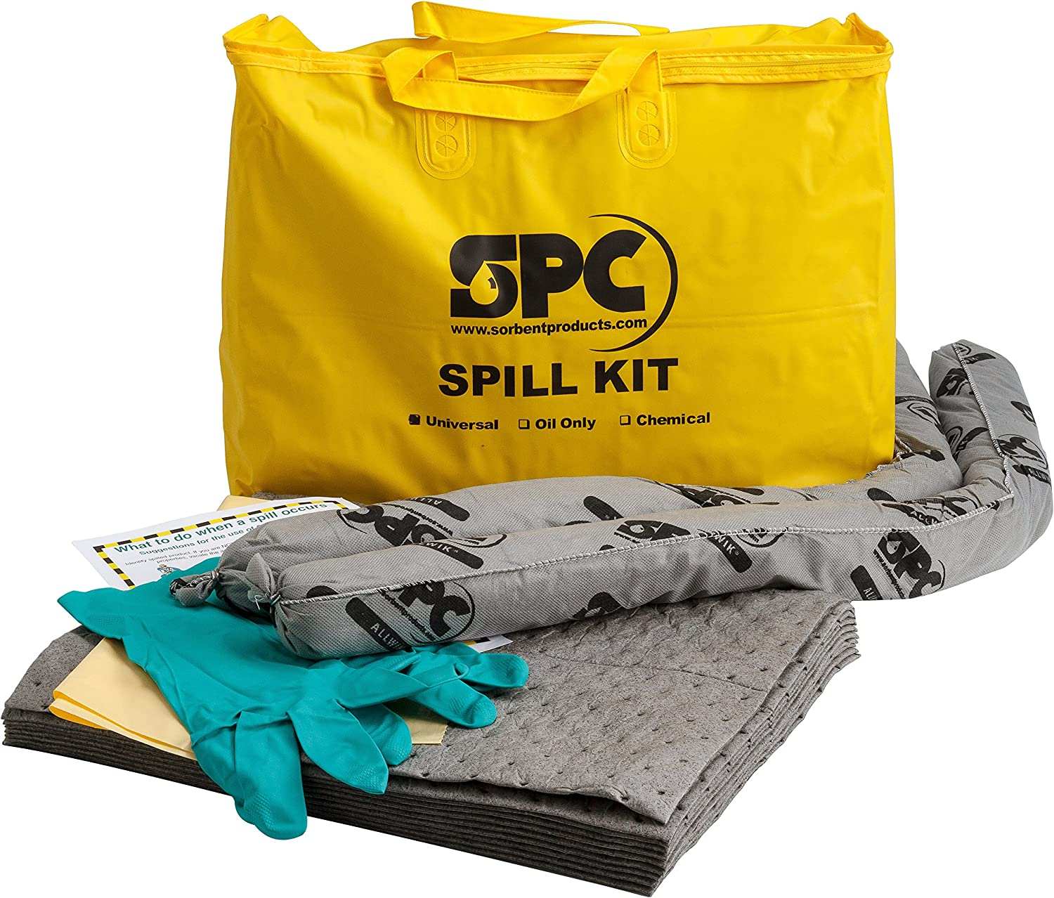 Brady SPC SKA-PP Allwik Universal Economy Portable Spill Kit - 107795, Yellow: Science Lab Spill Containment Supplies: Industrial & Scientific