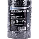 Cambridge Black Electrical Tape, 6 Pack, 3/4 Inch by 66 Feet per Roll, Commercial Grade 7mil Vinyl Tape, Weather…