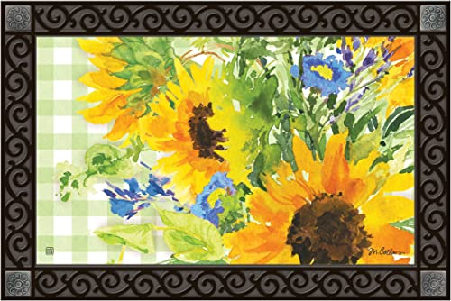 Studio M MatMates Sunflowers on Gingham Decorative Floor Mat Indoor or Outdoor Doormat with Eco-Friendly Recycled Rubber Backing, 18 x 30 Inches