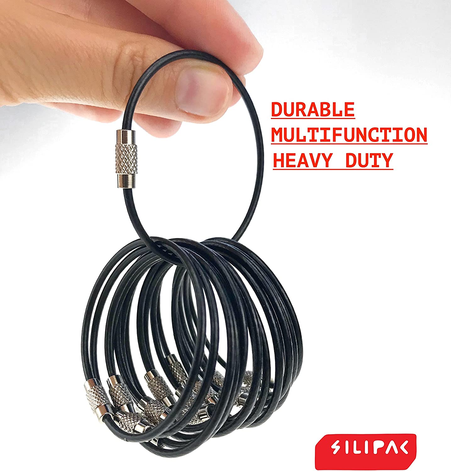 Silipac Large Key Ring Cable Wire Car Keychains Keyrings Loop Heavy Duty Tag ...