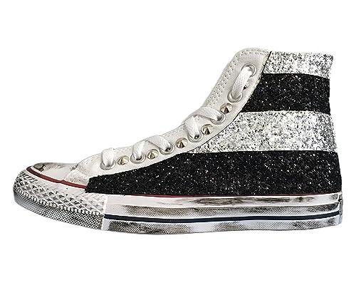 Converse All Star con applicazione di tessuto glitter argento e nero a  strisce e borchie  Amazon.it  Scarpe e borse f532ddb7009