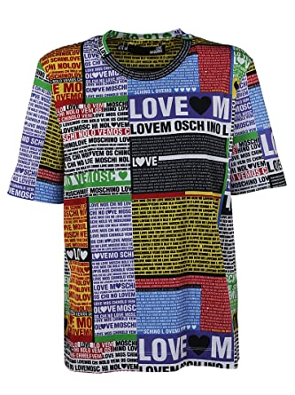 6580d5a2c9eb33 Love Moschino Women's W4F1550M35170015 Multicolor Cotton T-Shirt -  Multicoloured - Brand Size 44