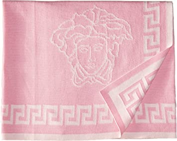 ad5c193fd2 Image Unavailable. Image not available for. Color: Versace Kids Women's  Knit Medusa Blanket w/ Greca Border Pink ...