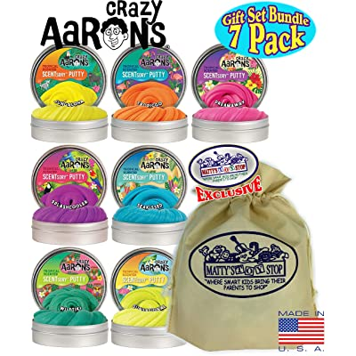 Crazy Aaron's Thinking Putty SCENTSory Tins Gift Set Bundle Featuring DreamAway, SeaKissed, WildTiki, JungAloha, TropicGo, SunSational, SplashCooler & Bonus Matty's Toy Stop Bag - 7 Pack (.88 oz each): Toys & Games