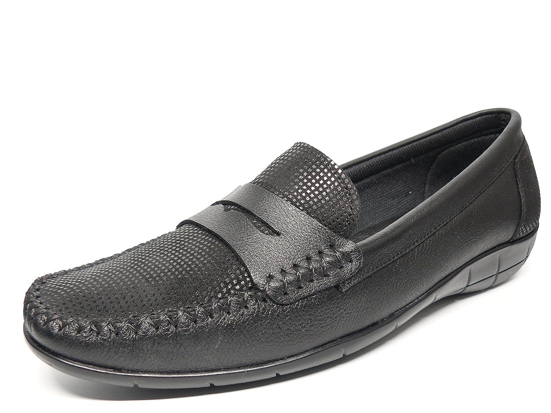 Zapato mujer casual mocasin marca DELTELL en piel color negro adorno ...