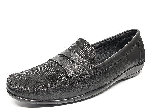 Deltell Zapato Mujer Casual Mocasin Marca EN Piel Color Negro Adorno Banda antifazserpiente Negro 119-