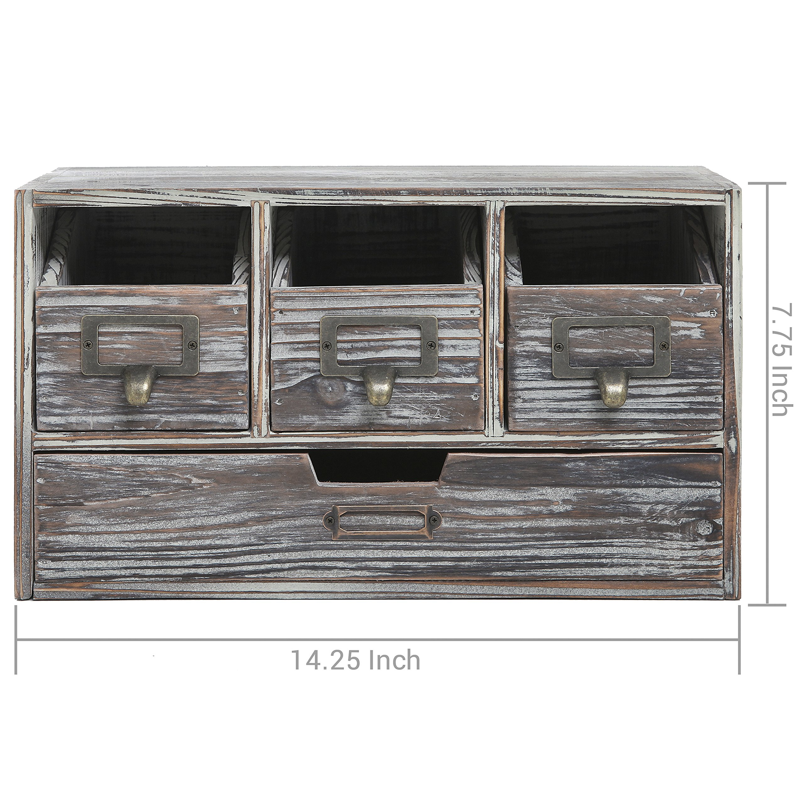 Rustic Brown Torched Wood Finish Desktop Office Organizer Drawers / Craft Supplies Storage Cabinet by MyGift (Image #7)