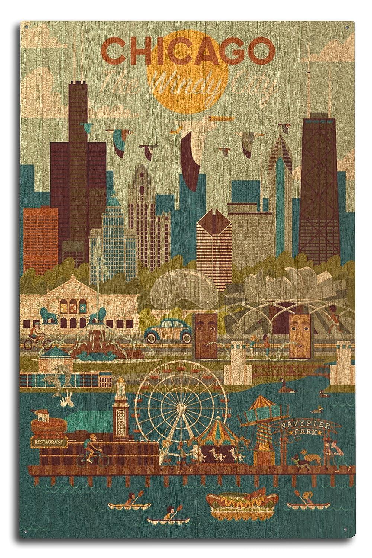 新作からSALEアイテム等お得な商品満載 シカゴ、イリノイ州 – Geometric 16 x 24 Sign 15 Giclee x Print LANT-83140-16x24 B076PS5CXG 10 x 15 Wood Sign 10 x 15 Wood Sign, J.F.SHOP:dc061565 --- 4x4.lt