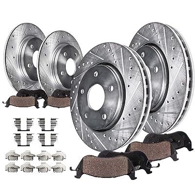 Detroit Axle - Front & Rear Disc Brake Kit Rotors w/Ceramic Pads w/Hardware for 2008 2009 2010 2011 2012 2013 2014 2015 2016 Mitsubishi Lancer ES, DE, SE, SEL ONLY: Automotive