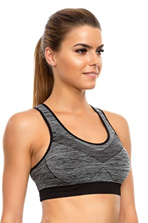 cb529de9209 FUTURO FASHION Womens Padded Bra Workout Gym Push-Up Crop Top Stretchy  Seamless Sizes M-2XL FG3927  Amazon.co.uk  Clothing