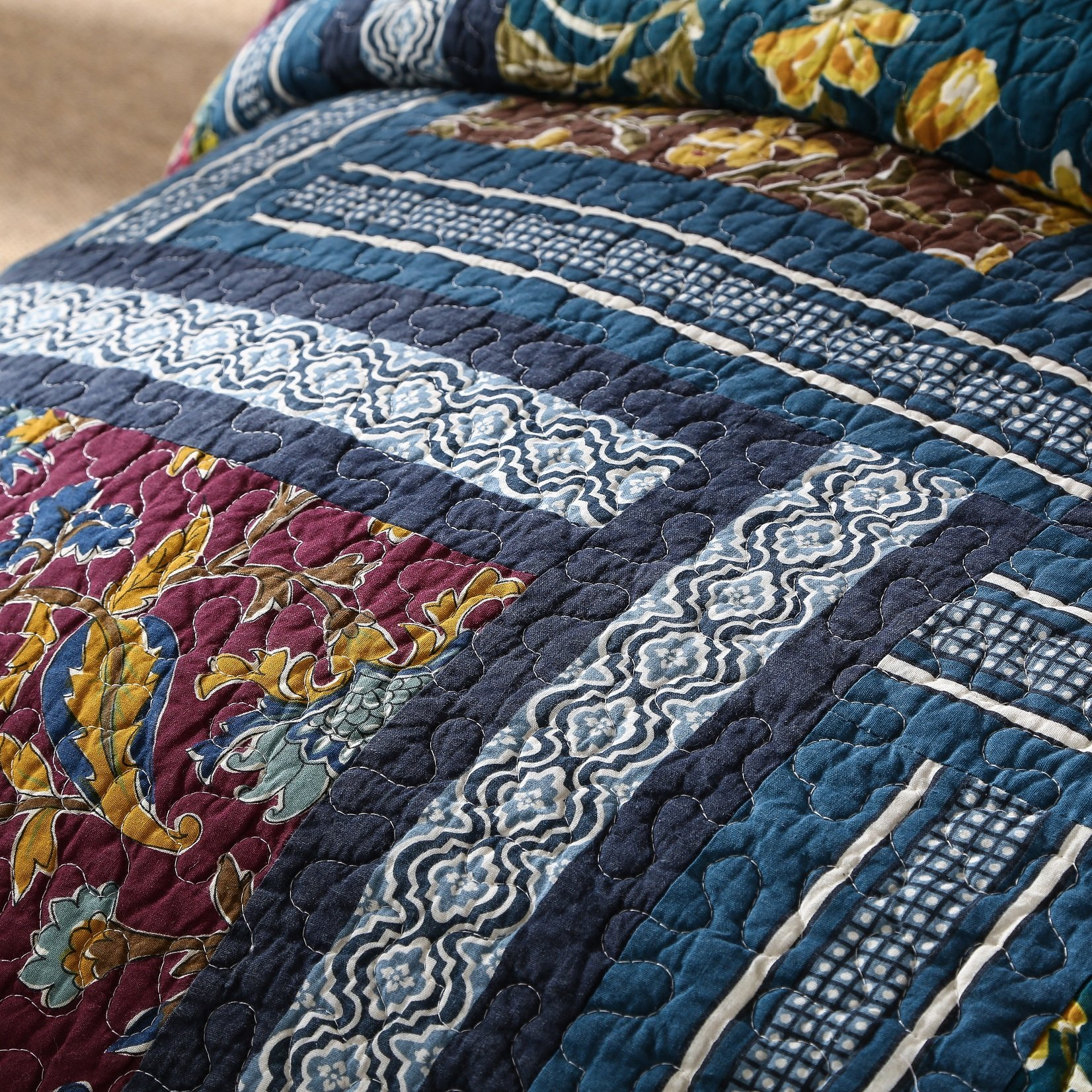 DaDa Bedding Bohemian Midnight Ocean Blue Sea Reversible Real Patchwork Quilted Bedspread Set - Dark Navy Floral Multi-Color Print - Queen - 3-Pieces by DaDa Bedding Collection (Image #3)