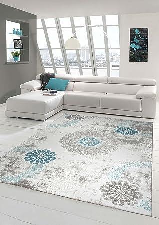 Traum Alfombra diseñador de alfombras de Lana Alfombra Moderna con Adornos Que Viven Alfombra Alfombra de la Sala en Turquesa Gris Crema Größe 80 x 300 cm: ...