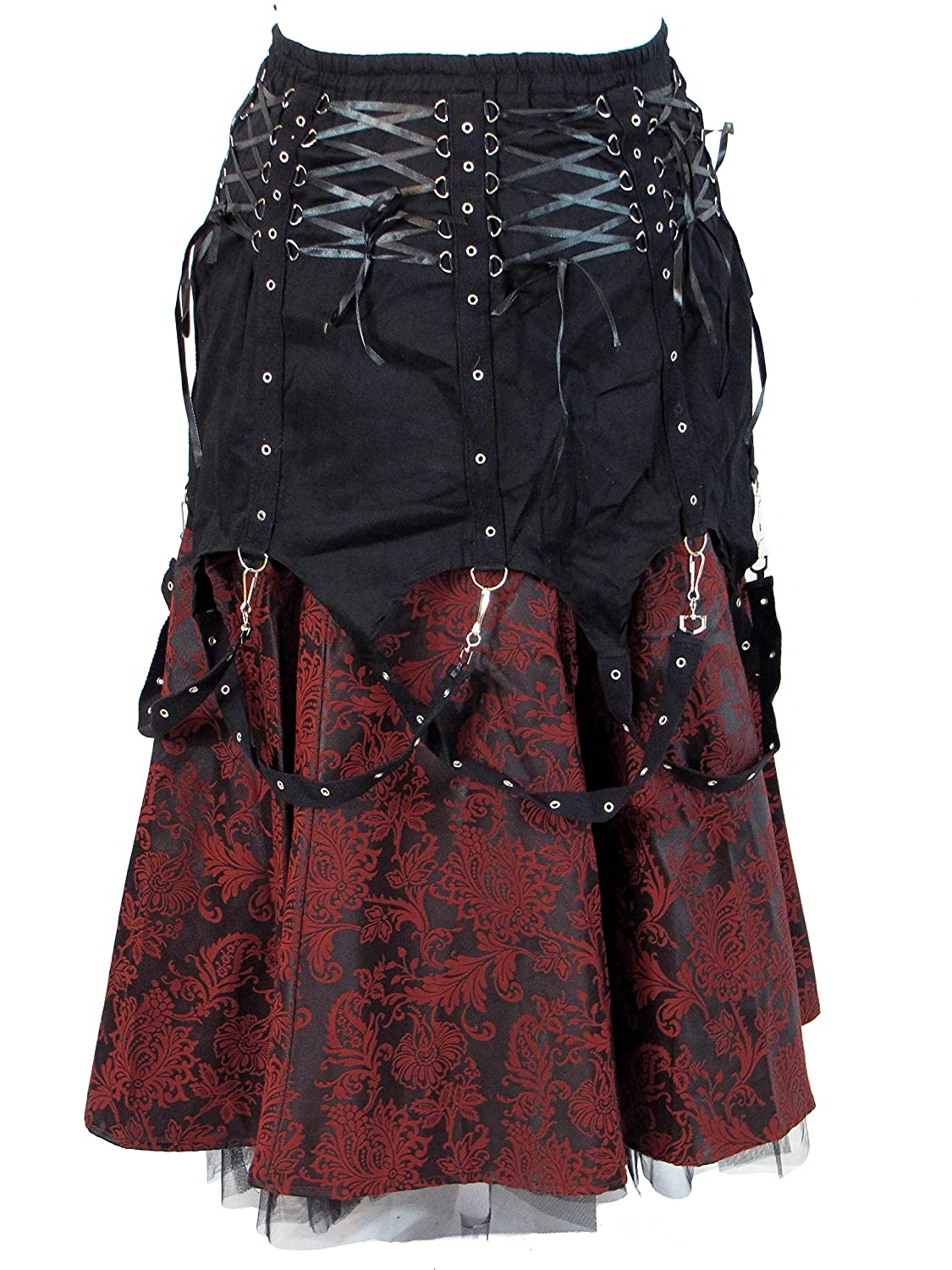 a971906ee6 Dark Star Black Red Brocade Gothic Medieval Punk Chains Long Skirt M-2X  Plus Size at Amazon Women's Clothing store: