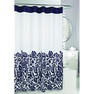 Moda at Home 204361 Bella Water Repellent Fabric Shower Curtain, 71-Inch X 71-Inch, White and Navy