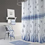 Fabric Nature Shower Curtain With Hooks Flying Leaves Spring Striped For Bathroom Blue White