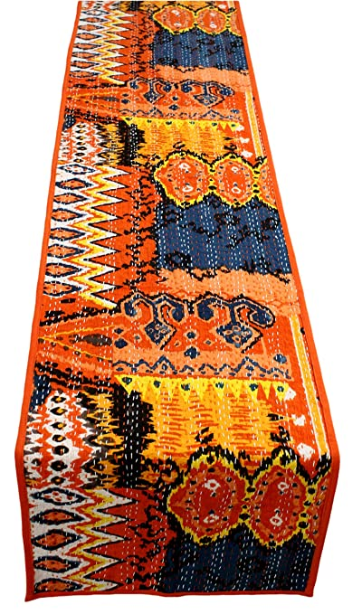 Agasvi Cotton 4ft Small Table Runners Ikat Print Kantha Embroidery (Orange Ikat, 47X12)