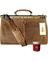 BARON of MALTZAHN Doctor's bag Men's top handle bag PARZIVAL of brown leather - incl. leather care