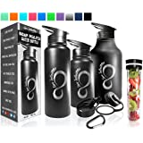 Live Infinitely Double Walled Vacuum Insulated Water Bottles –30, 40 or 64oz 18/8 Food Safe Stainless Steel- Includes Flip Top & Wide Mouth Lid, Removable Fruit Infusion Rod & Carabiner-For Hot & Cold