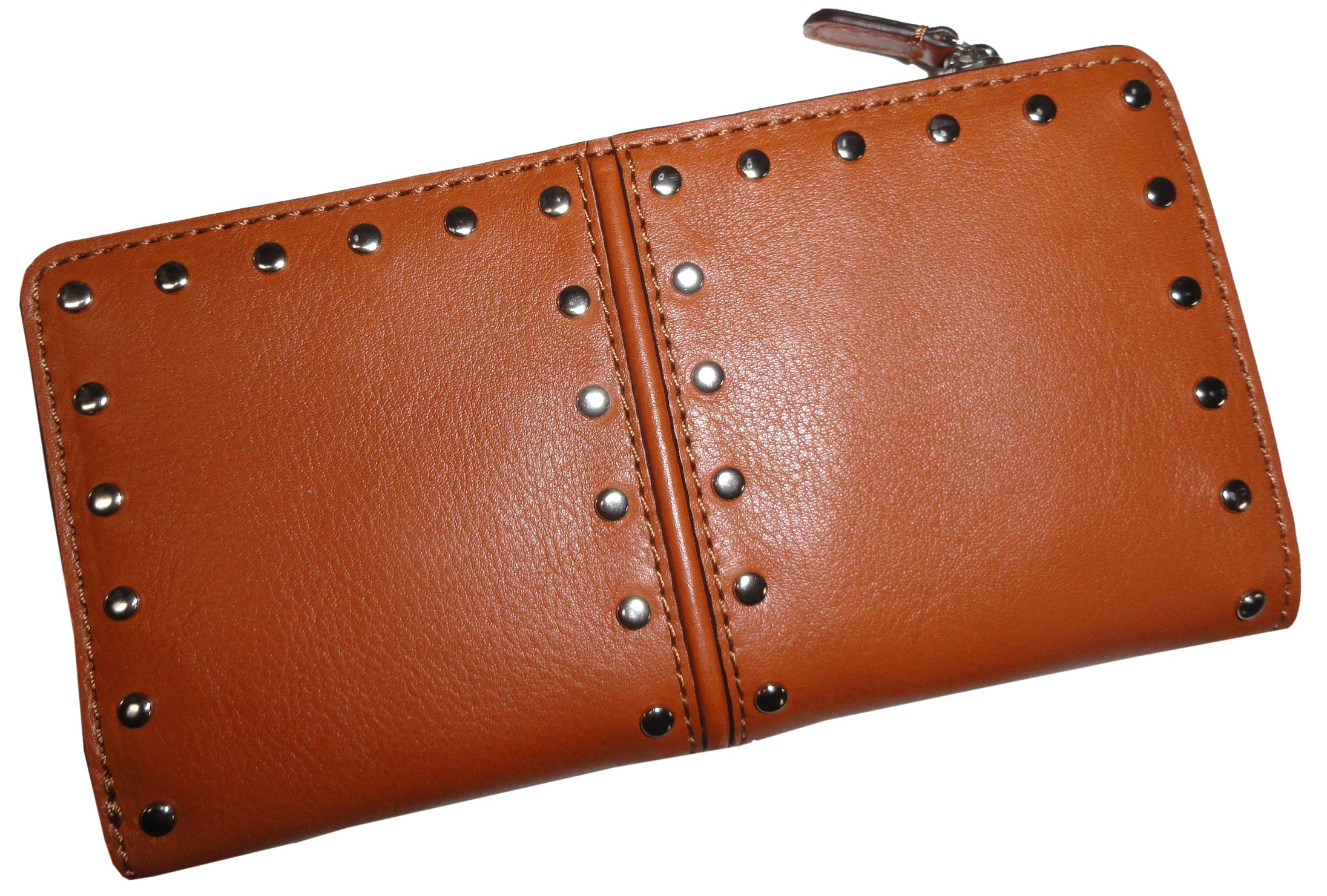 Michael Kors Astor Top Zip Continental Luggage Brown Leather Wallet