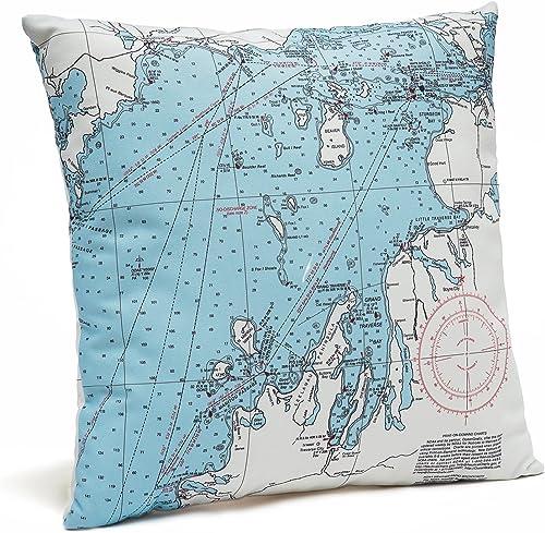 Northwest Michigan Indoor Outdoor Nautical Chart Throw Pillow