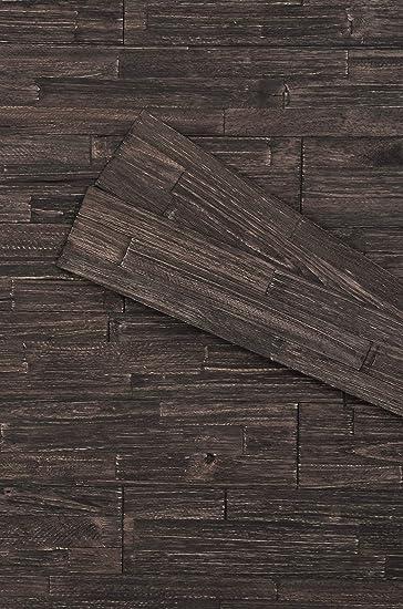 Mywoodwall 3d Wandverkleidung Holz Schwarz Inkl Doppelseitiges Klebeband Anthracite Moderne Wandpaneele Selbstklebend Vintage Wohnzimmer Schlafzimmer Garderobe Amazon De Baumarkt