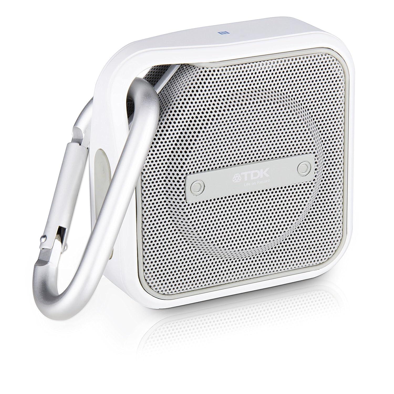 TDK A12 Trek - Micro altavoz Bluetooth, portátil con tecnología NFC, a prueba de agua y con mosquetón, blanco: Amazon.es: Electrónica