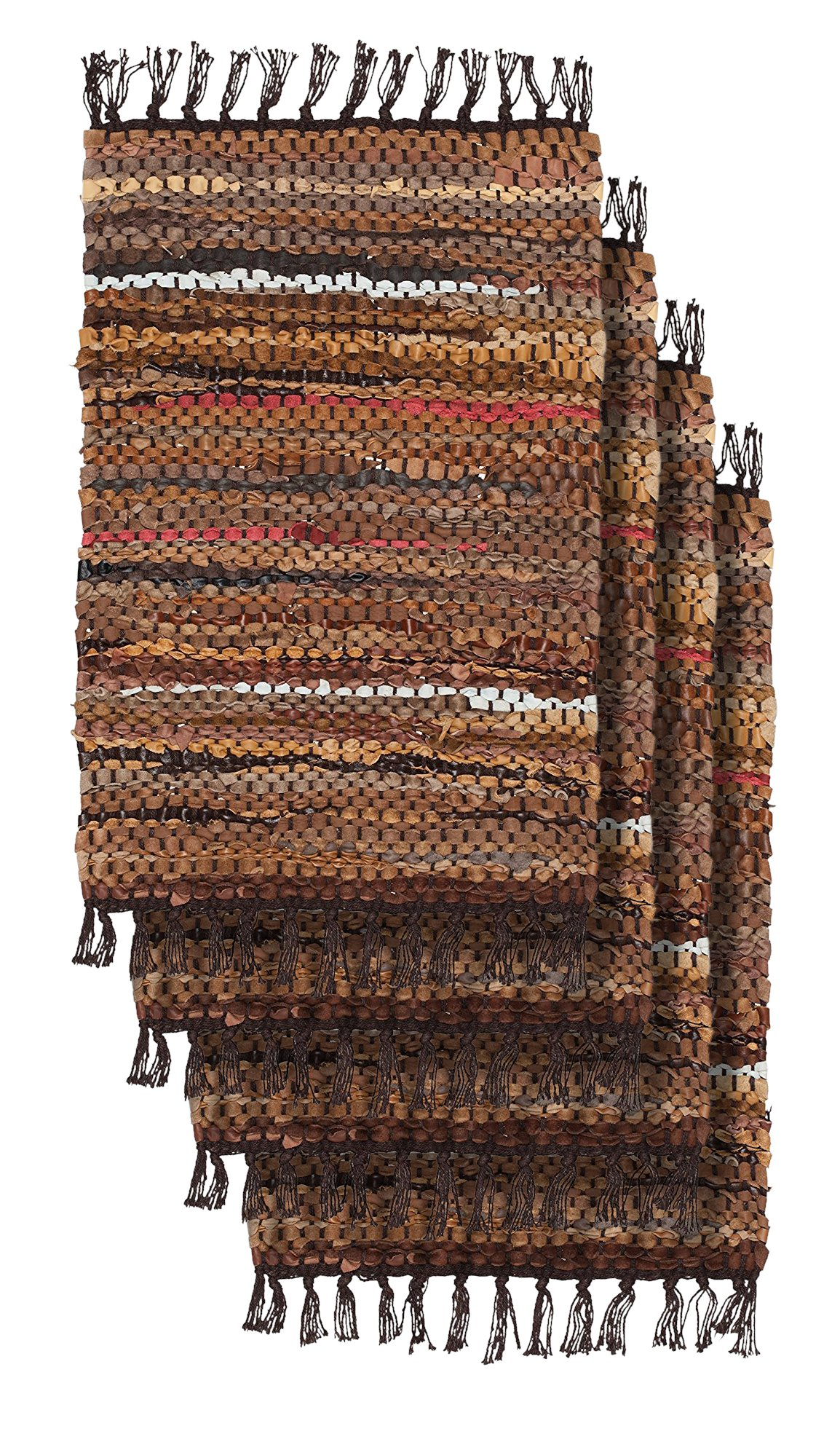 HF by LT Tucson Leather Placemats, 13'' x 19'', Set of 4, Handwoven Recycled Leather and Soft Cotton, Brown
