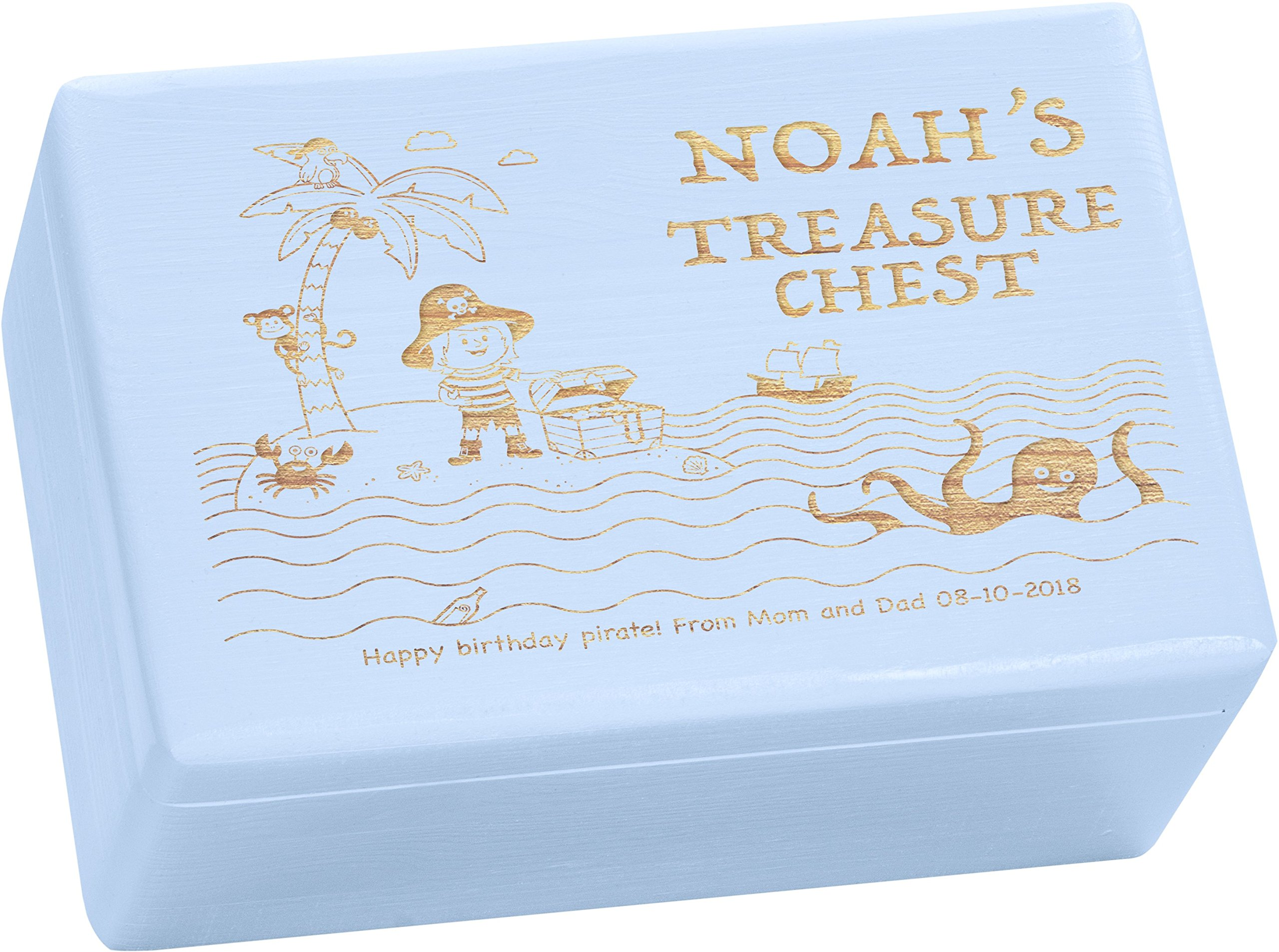 LAUBLUST Engraved Wooden Gift Box - Size L, 12x8x6in - PERSONALIZED Treasure Chest - Pirate Design | Painted Blue - Made in Germany