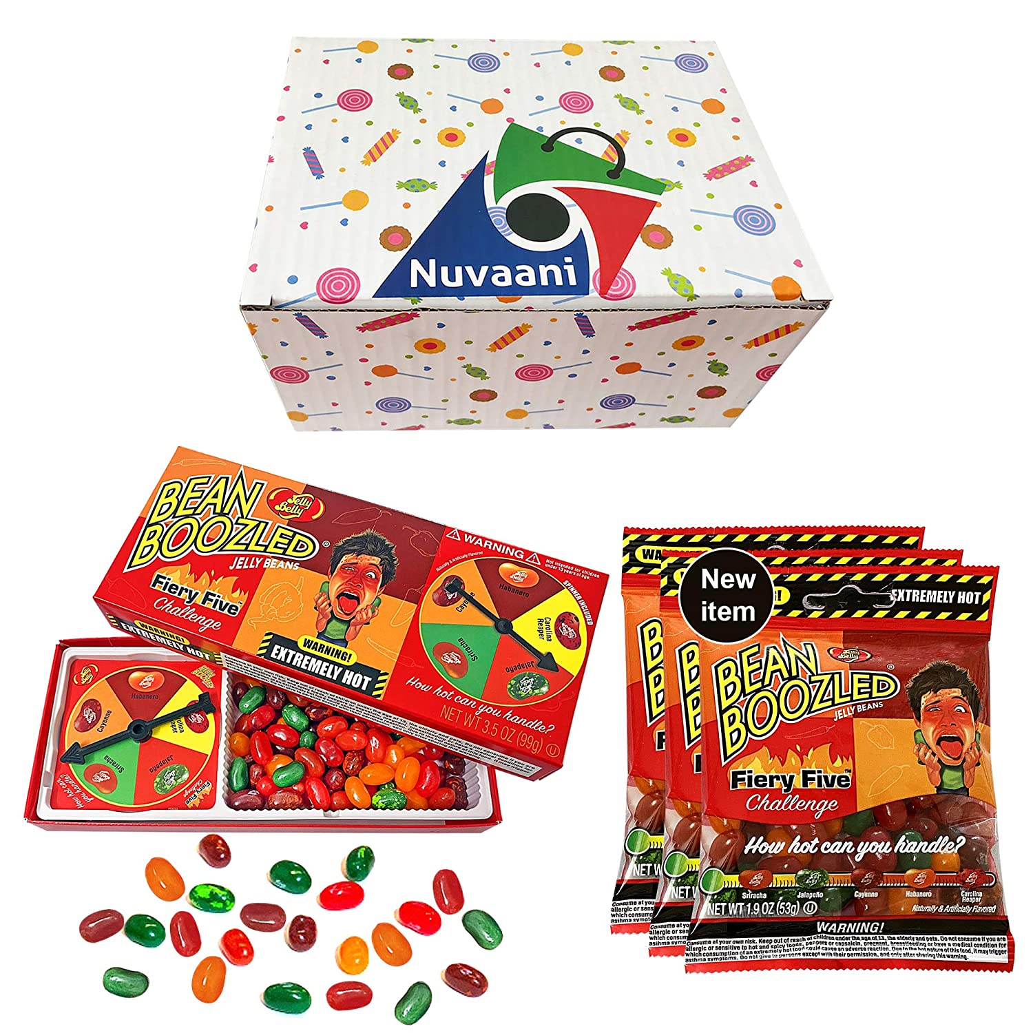 Jelly Belly Beanboozled Fiery Five Spicy Jelly Beans Extremely Hot   Boozled Spinner Gift Box Challenge   Three Refill Packed Pepper Candy Game   Tasty Flavorful and Chewy in Nuvaani Gift Box
