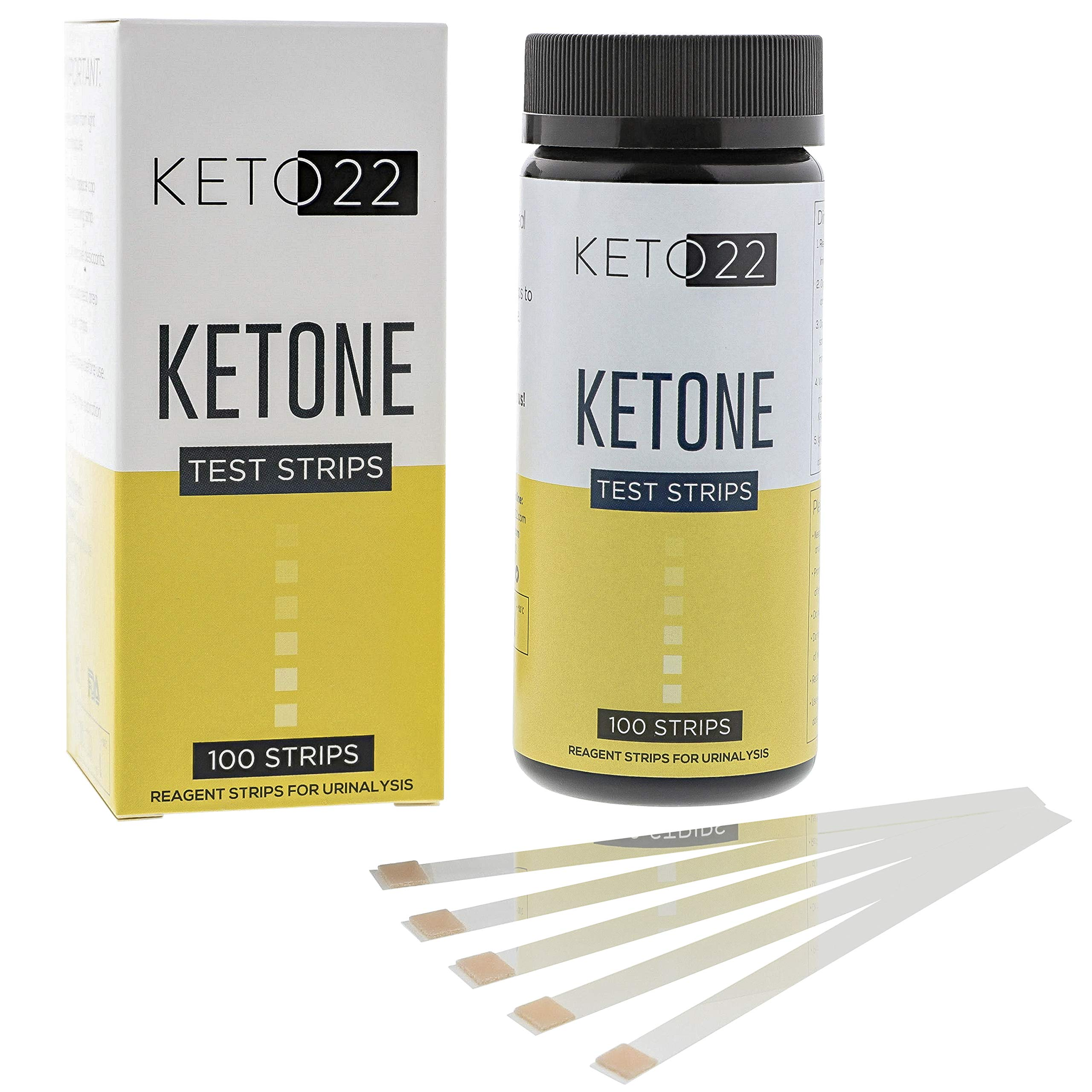 Keto 22 Ketosis Test Strips - 100 Keto Strips - Accurate Ketone Test Strips - Monitor and Maintain a Low Carb Ketogenic Diet with Keto Test Strips. Stay in Ketosis. Lose Weight, Feel Great.