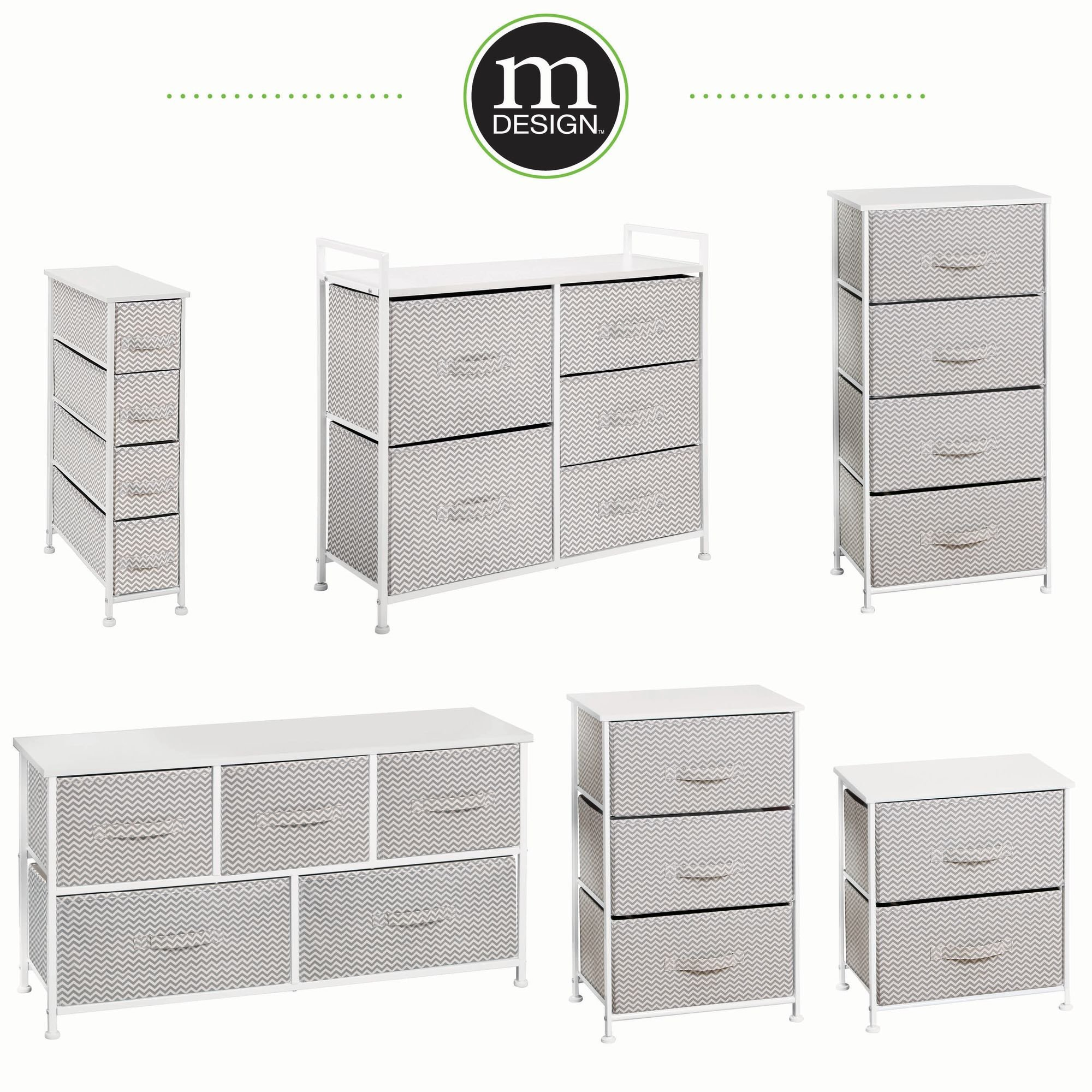 mDesign Vertical Furniture Dresser Storage Tower - Sturdy Steel Frame, Wood Top, Easy Pull Fabric Bins - Organizer for Bedroom, Hallway, Entryway, Closets - Chevron - 4 Drawers, Taupe/Natural/White by mDesign (Image #5)