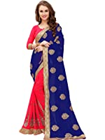 Panchratna Women's Women's Embroidered Blue Half And Half Georgette Saree With Blouse Material